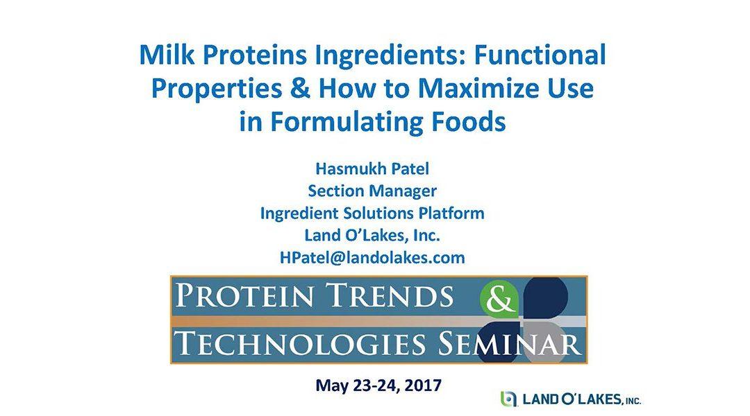 Formulating with Milk Proteins Presentation