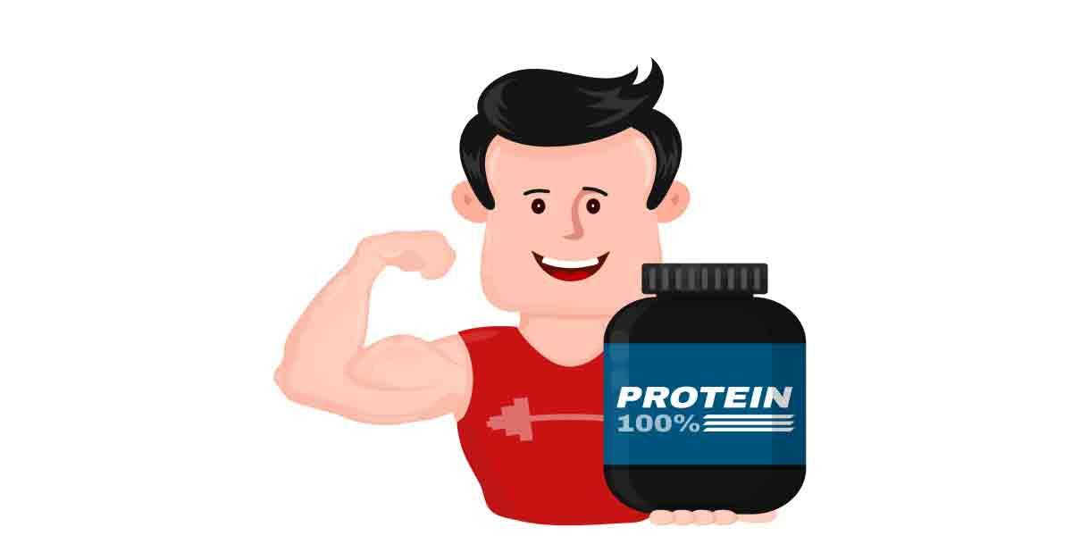 A sketch of a fit man holding a container labeled 100% protein shows how the consumer trend toward healthier lifestyles impacts protein use in foods and beverages.