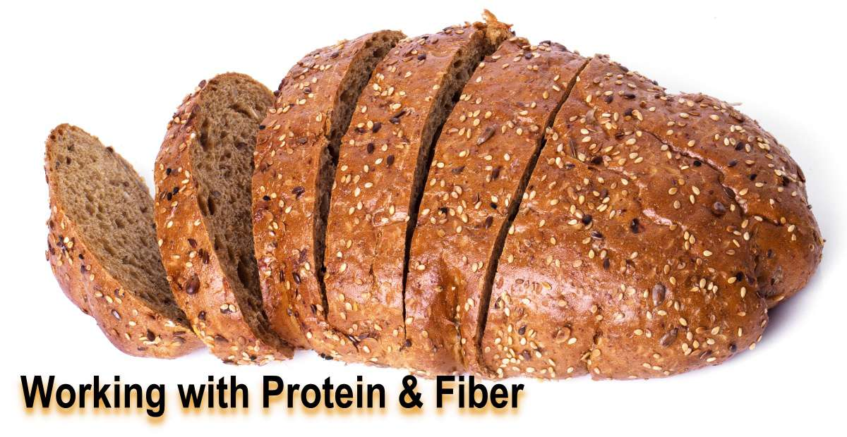 Whole-grain bread with seeds and nuts is an example of a food system that incorporates protein and fiber, but the bread may also include maltodextrins or resistant starch to help mitigate the heaviness caused by high-cellulosic fiber.