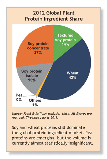 Soy proteins dominate plant protein market, as shown in this chart of global plant protein ingredient share.