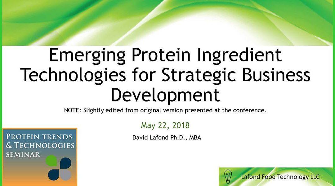 Emerging Protein Ingredient Technologies Presentation