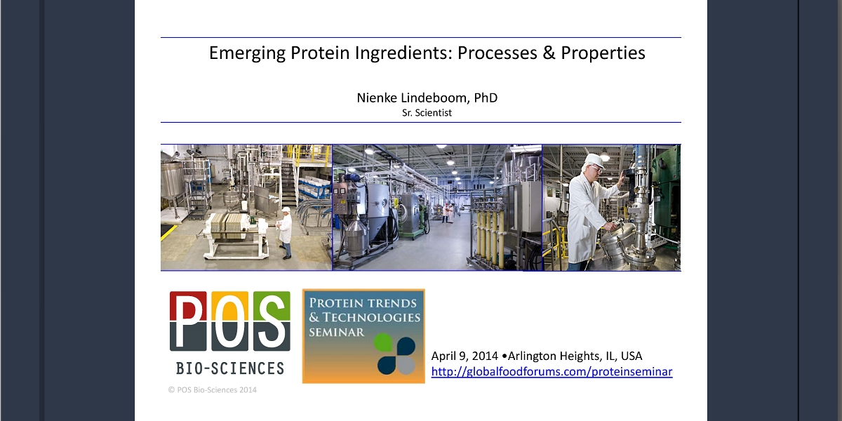 Emerging Protein Ingredients: Processes & Properties Presentation - Nienke Lindeboom 2014 Protein Trends & Technologies Seminar