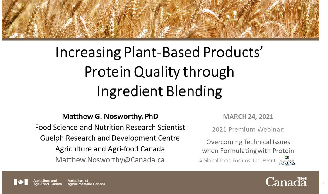 Increasing Plant Based Products Protein Quality through Ingredient Blending – Presentation